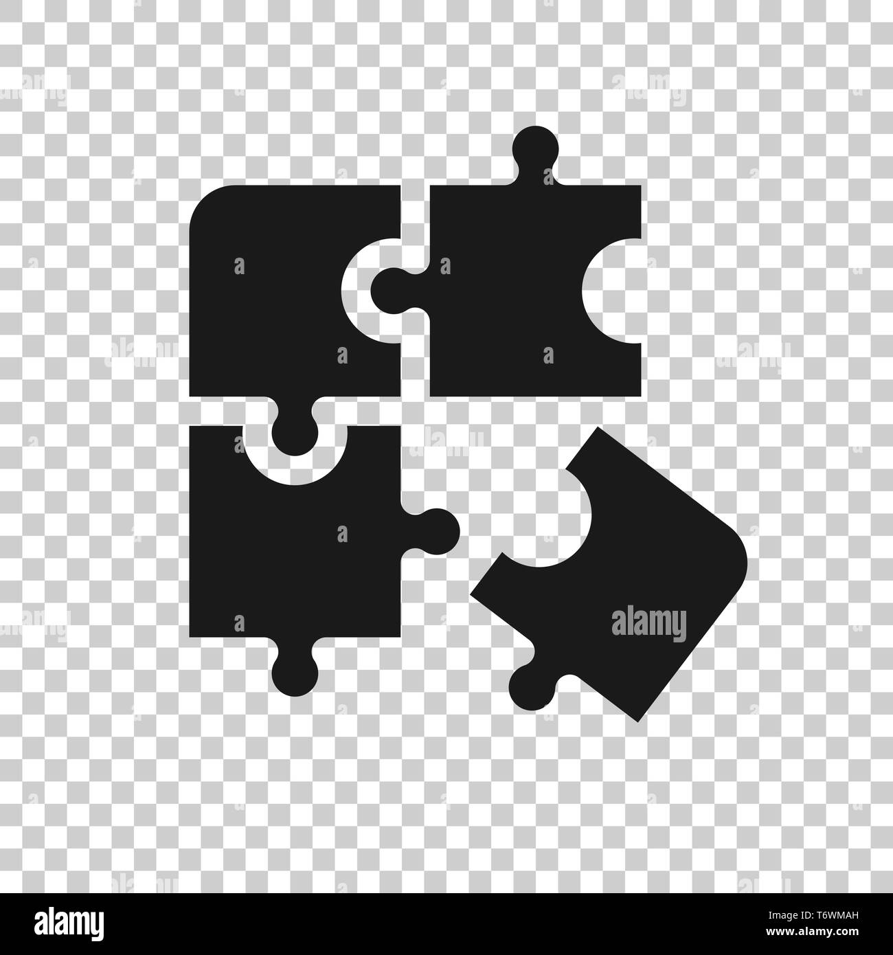 Puzzle compatible icon in transparent style. Jigsaw agreement vector illustration on isolated background. Cooperation solution business concept. - Stock Image
