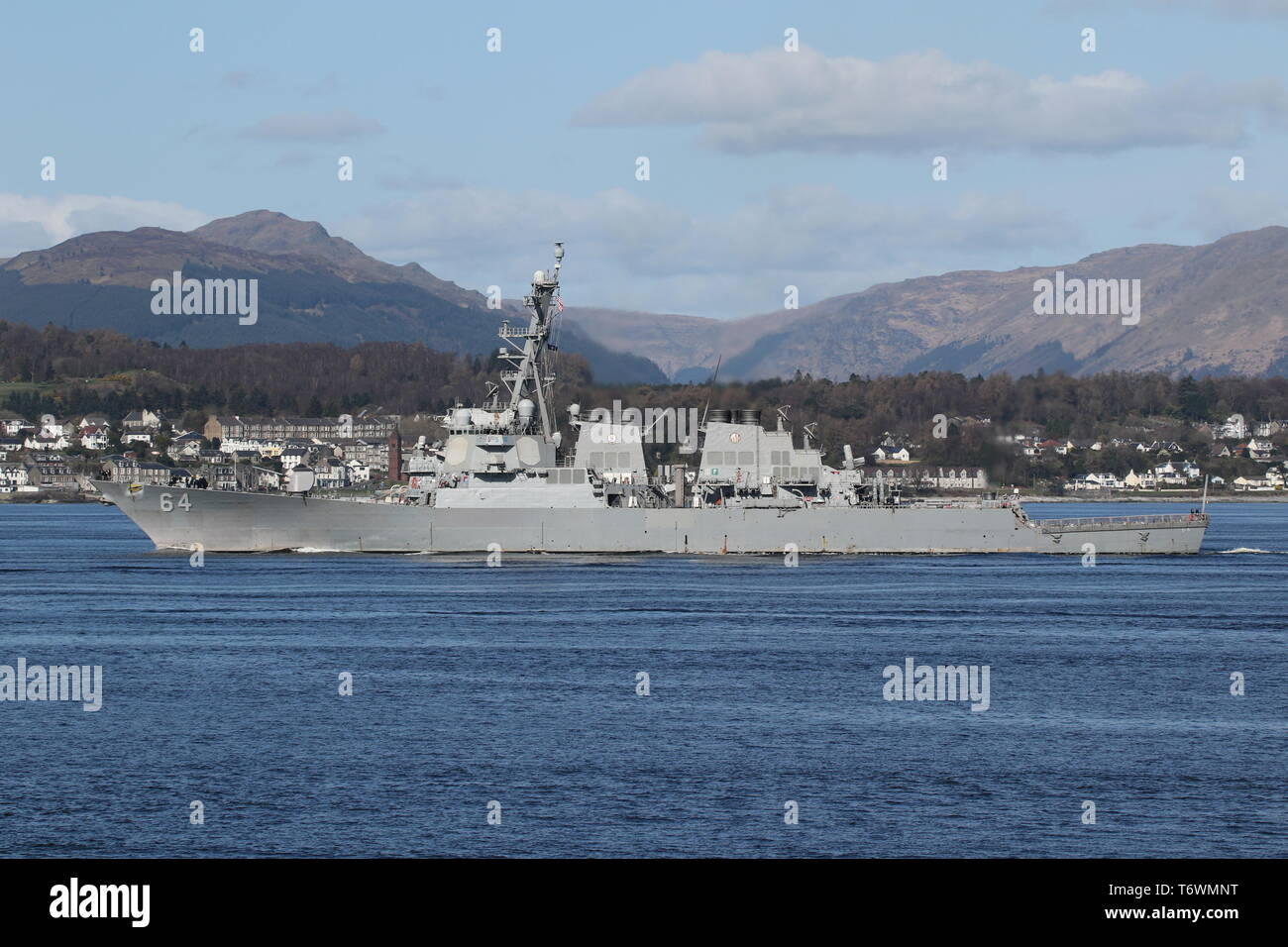 USS Carney (DDG-64), an Arleigh Burke-class destroyer operated by the US Navy, passing Gourock at the start of Exercise Joint Warrior 19-1. Stock Photo