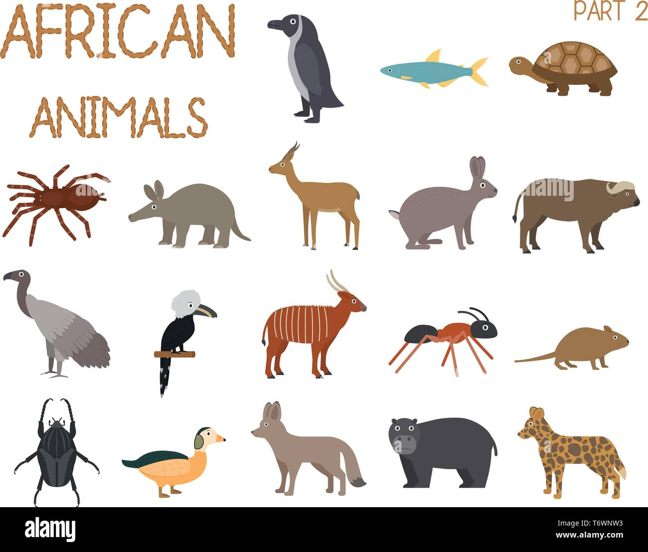 African animals set of icons in flat style, African fauna, dwarf goose, african vulture, buffalo, gazelle dorkas, etc. vector illustration - Stock Vector