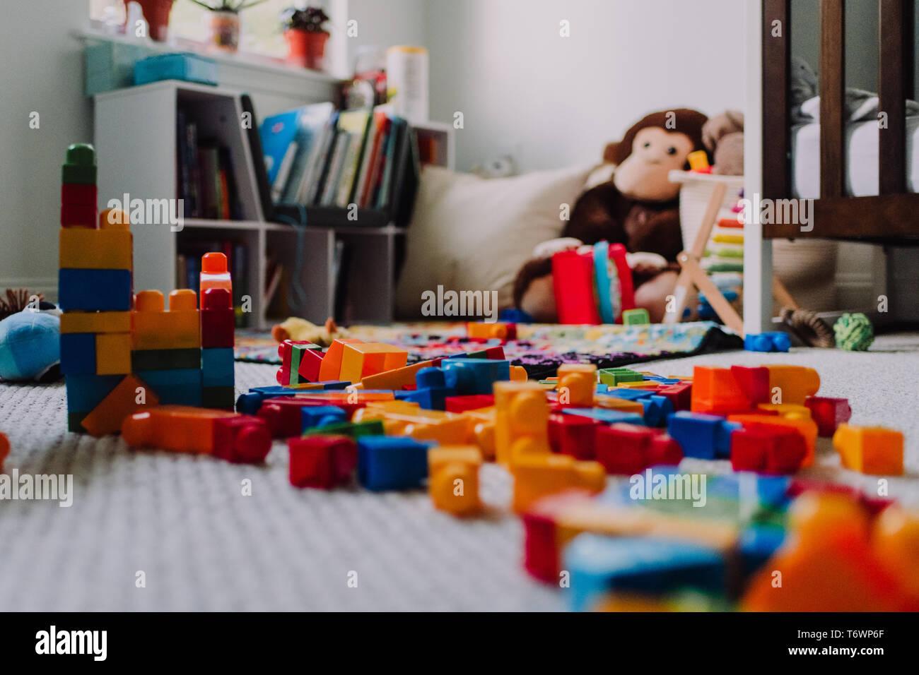 Messy blocks in child's room - Stock Image