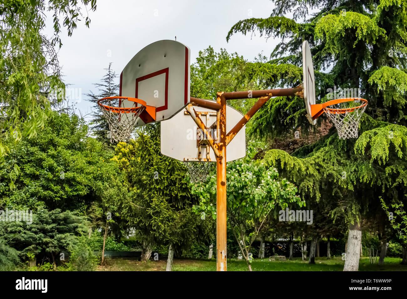 Basketball Court In Public Park Stock Photos & Basketball