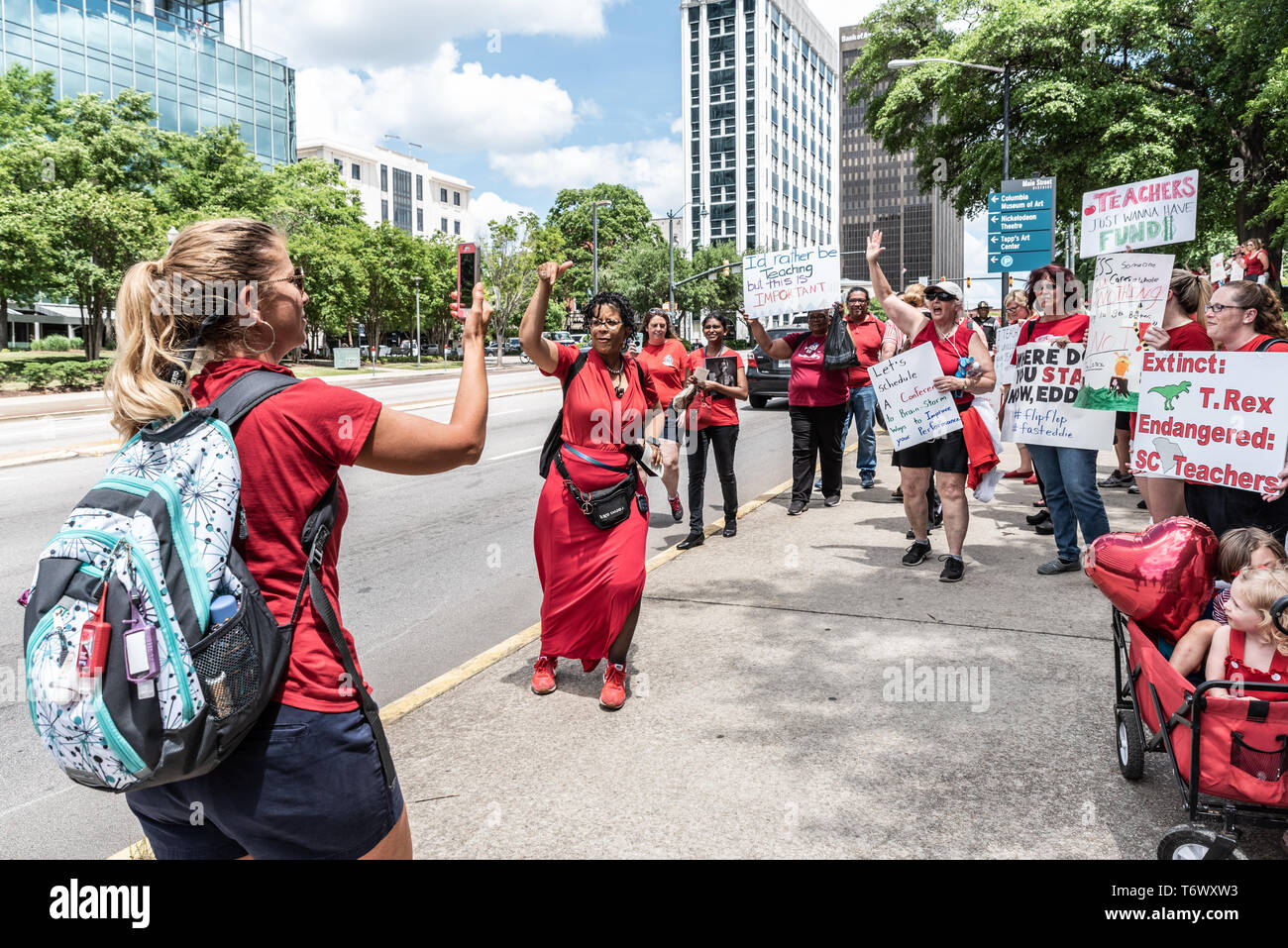 Columbia, South Carolina USA - May 1, 2019: 10,000 teachers from across South Carolina band together to protest poor work conditions in S.C. schools. - Stock Image