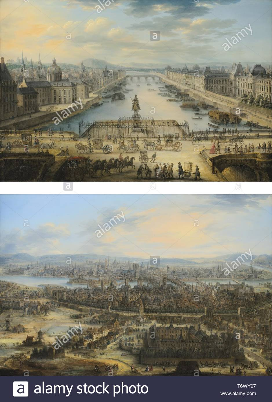 Charles-Lopold Grevenbroek-La Seine Vue Du Pont Neufvue De Paris Avec L'hpital De Saint-Louis - Stock Image