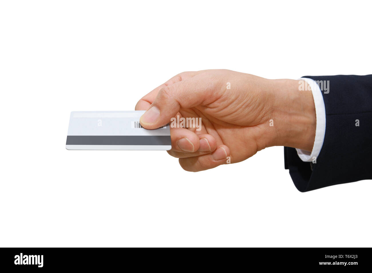 Gesture series, hand holds banker's card - Stock Image