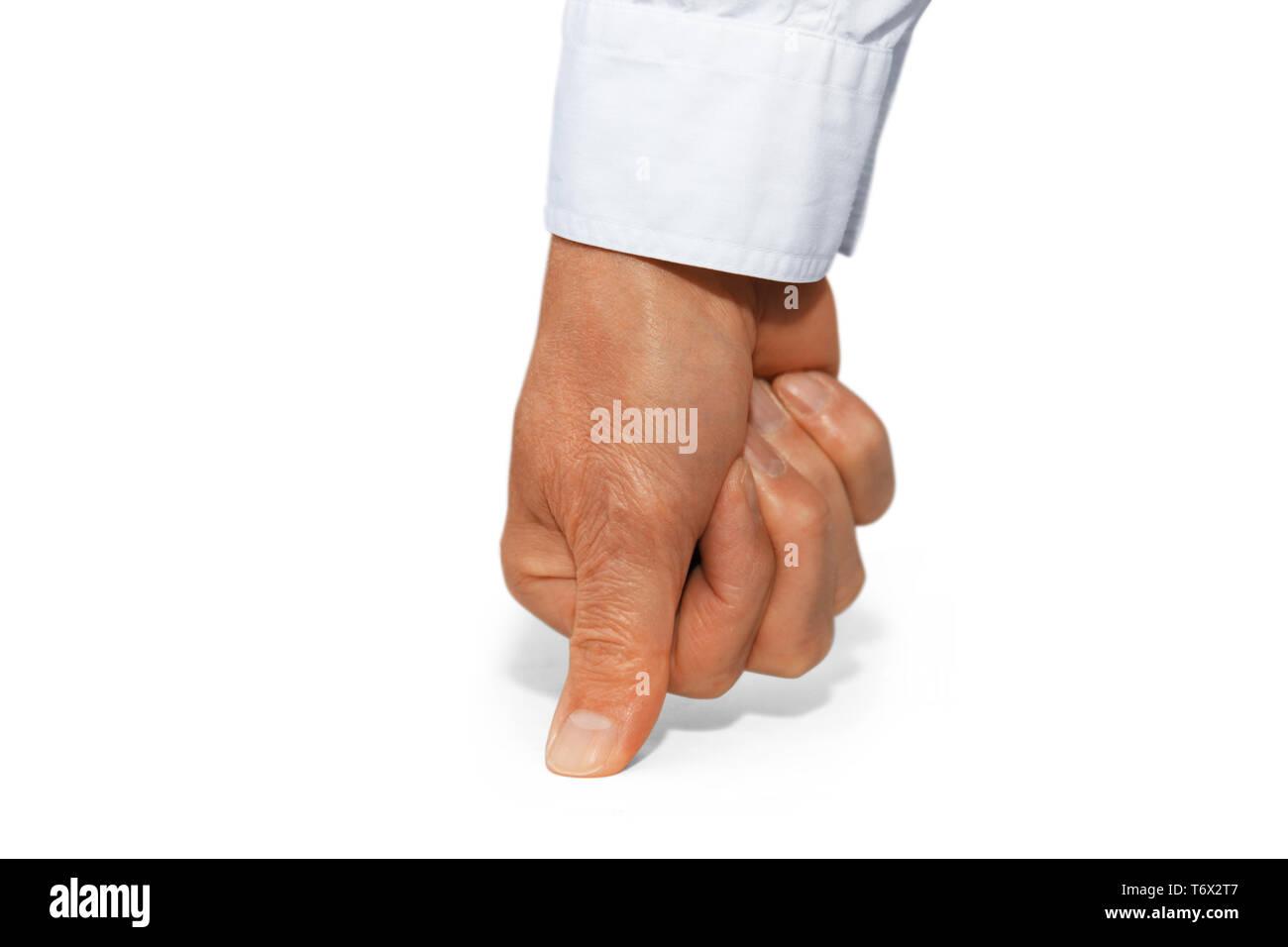 Gestenserie: Fingers crossed - Stock Image