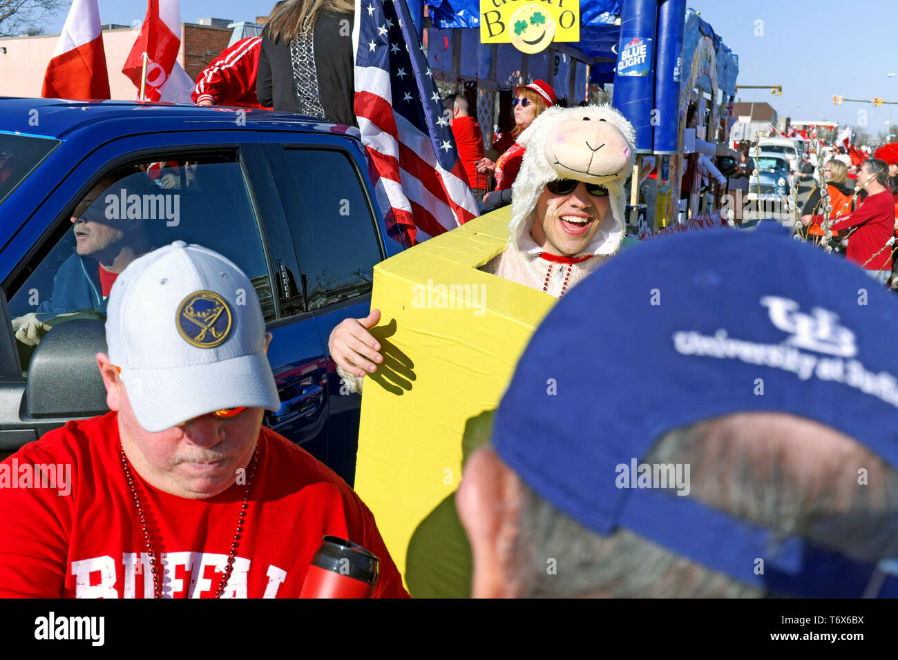 The organized mayhem of the 2019 Dyngus Day Parade in Buffalo, New York, USA is a unique street party celebrating Polish-American pride and traditions - Stock Image