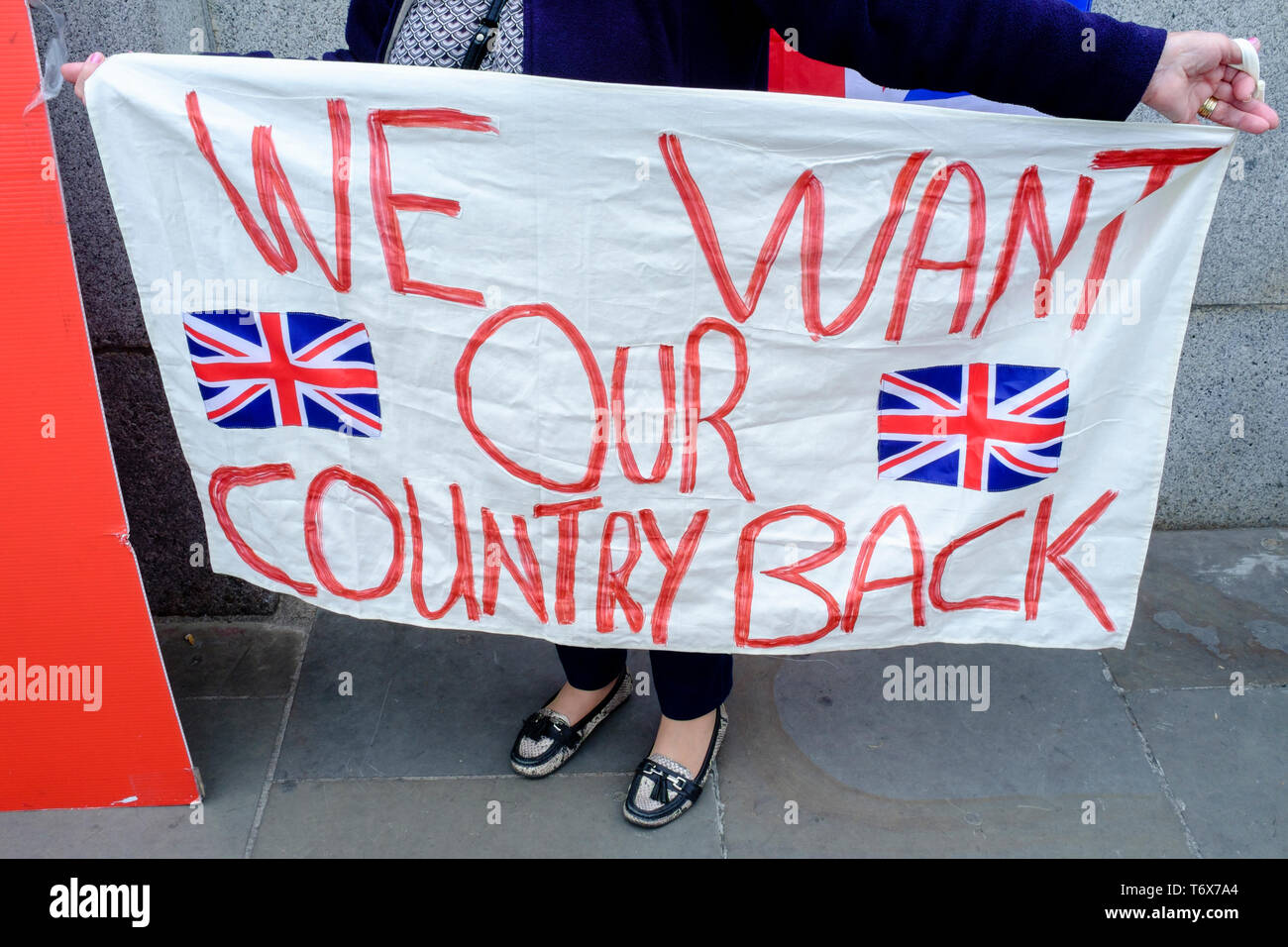 Pro-Brexit banners outside Houses of Parliament, Westminster, London. - Stock Image