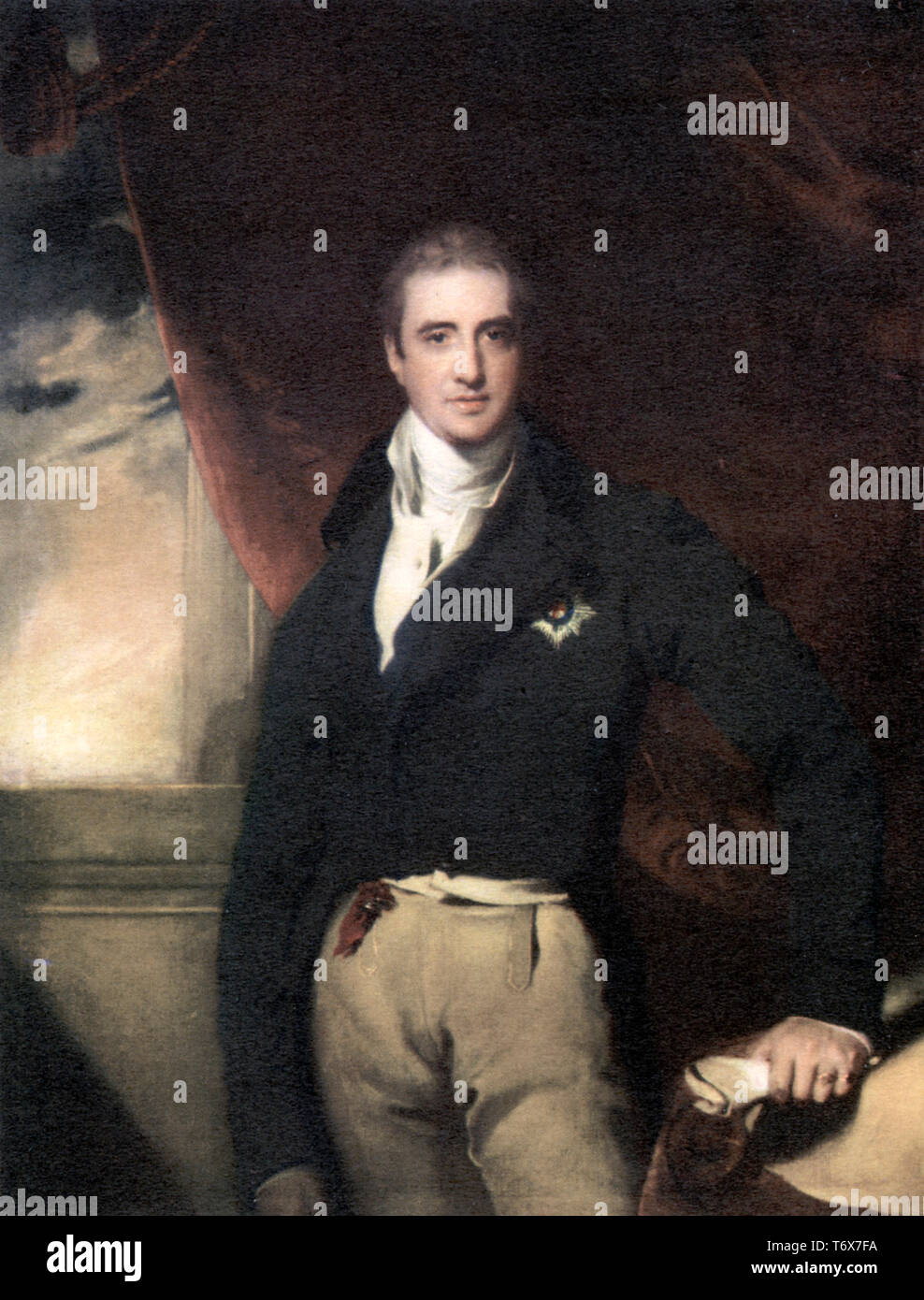 Robert Stewart, 2nd Viscount Castlereagh and 2nd Marquess of Londonderry (1769–1822), c1814. By Sir Thomas Lawrence (1769–1830). Lord Castlereagh, Irish/British statesman. As British Foreign Secretary, from 1812 he was central to the management of the coalition that defeated Napoleon and was the principal British diplomat at the Congress of Vienna. Castlereagh was also leader of the British House of Commons in the Liverpool government from 1812 until his suicide. As Chief Secretary for Ireland, he was involved in putting down the Irish Rebellion of 1798. - Stock Image