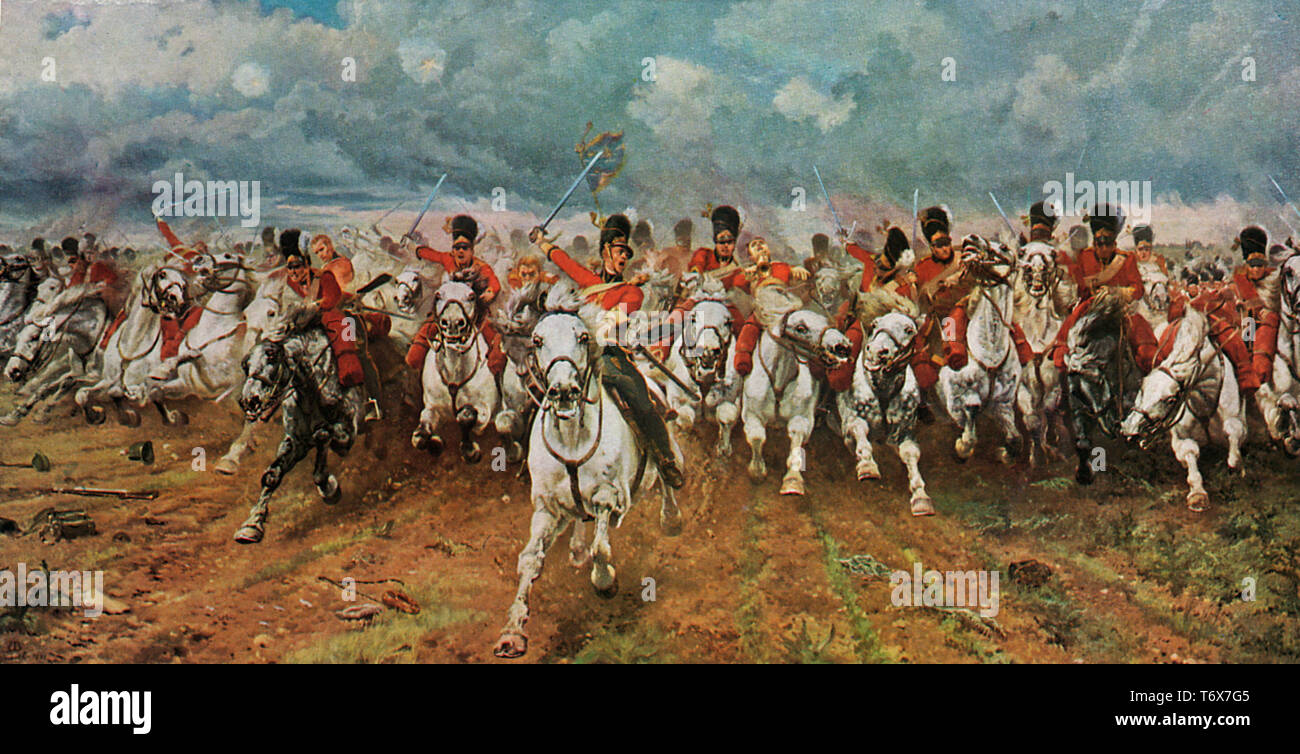 Scotland Forever! 1881. By Elizabeth Southerden Thompson, Lady Butler (1846–1933). This painting depicts the start of the charge of the Royal Scots Greys, a British cavalry regiment, that charged alongside the British heavy cavalry at the Battle of Waterloo in 1815. - Stock Image