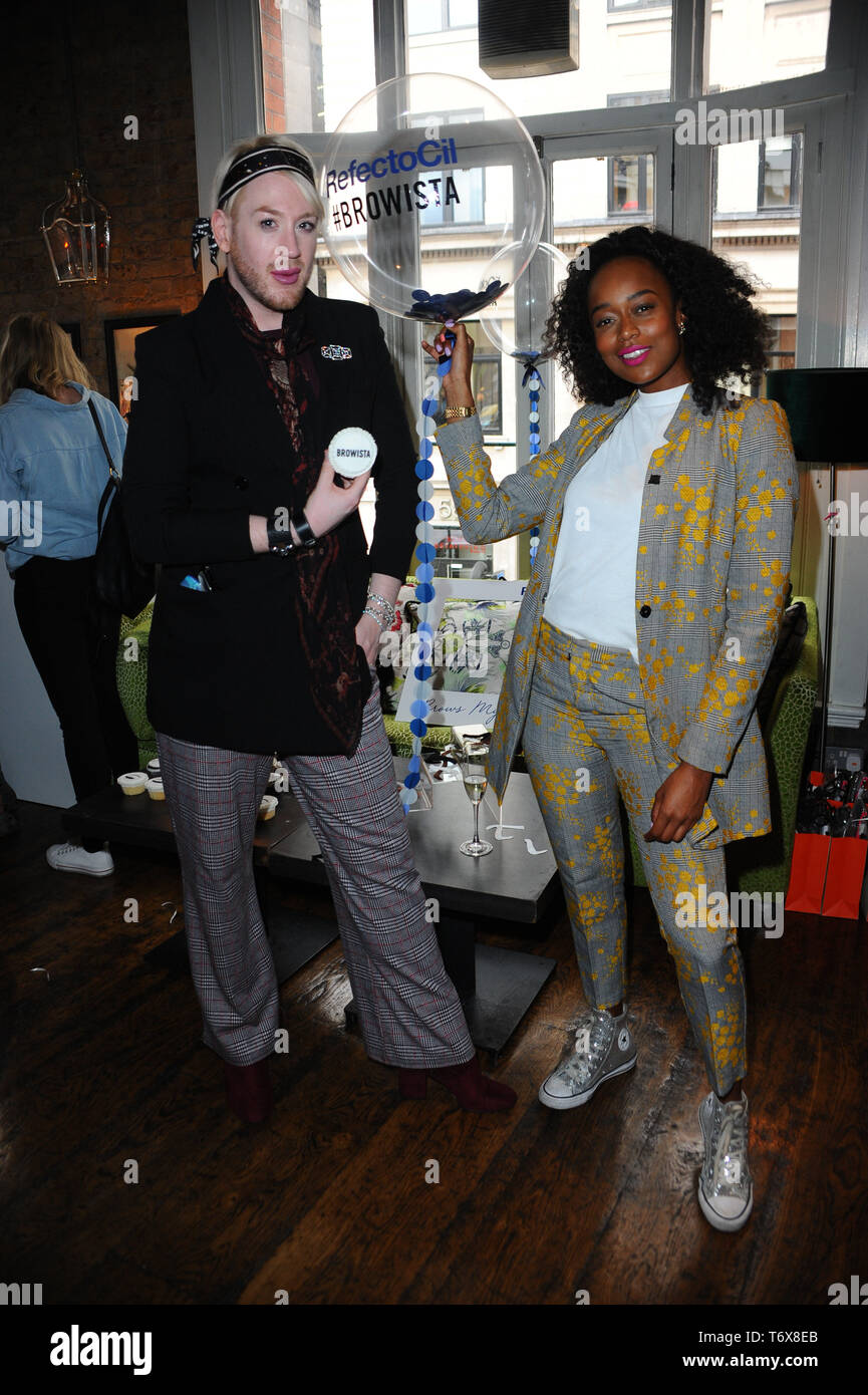 London, UK. 2nd May, 2019. Annalise Days and Lewis-Duncan Weedon are seen during the RefectoCill Browista Creative Custom Colour launch event and workshop, for new beauty products at the Residence Wardour Street Soho in London. Credit: Terry Scott/SOPA Images/ZUMA Wire/Alamy Live News - Stock Image