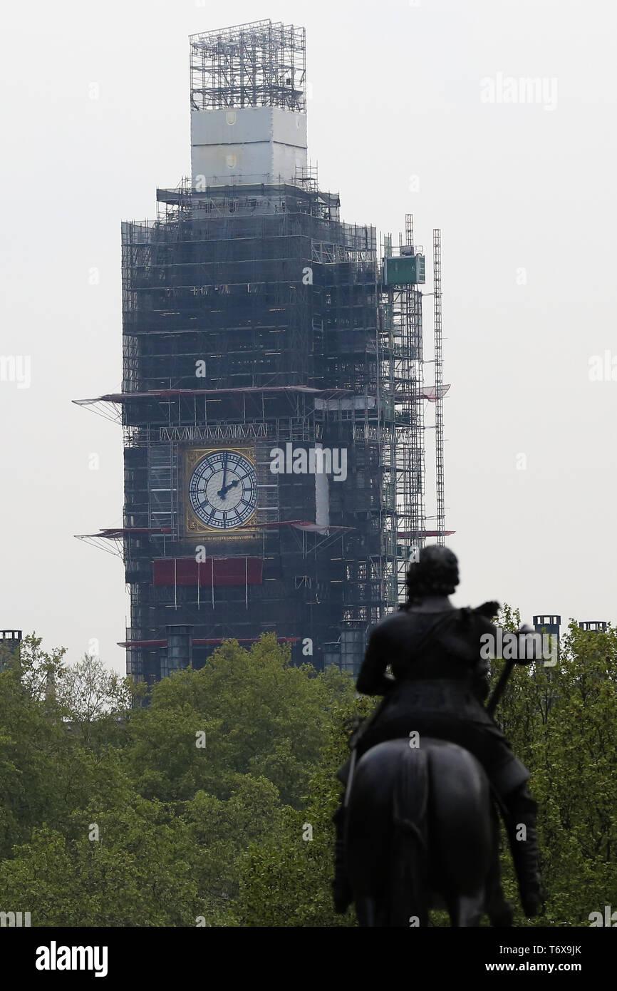 London, UK, UK  1st May, 2019  The Elizabeth Tower clock