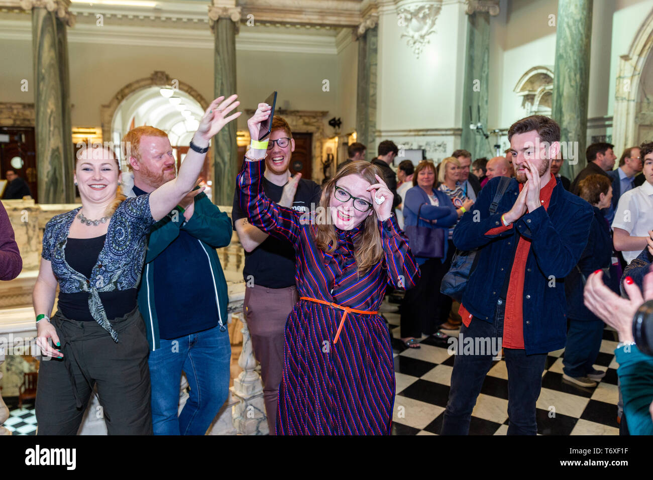 Belfast, UK. 03rd May, 2019. 03/May/2019 Belfast Local Election Results Aine Groogan - Green Party received the most First Prefrences votes in Botanic district Belfast with 1401. The Quota is 1624 to become a Councillor. Credit: Bonzo/Alamy Live News - Stock Image