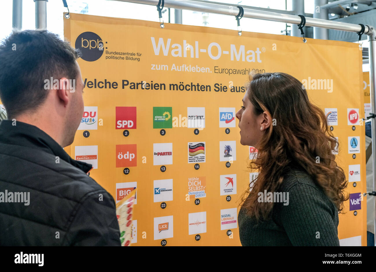 Magdeburg, Germany. 03rd May, 2019. Passers-by test the Wahl-O-Mat for the European elections. The Wahl-O-Mat of the Federal Agency for Civic Education has been in existence since 2002. The Federal Central Office will again offer decision support for the 2019 European elections on 26 May. 38 theses on 41 parties will then be available to voters in advance in order to assist them in making a decision during the election. Credit: Peter Förster/dpa-Zentralbild/ZB/dpa/Alamy Live News Stock Photo