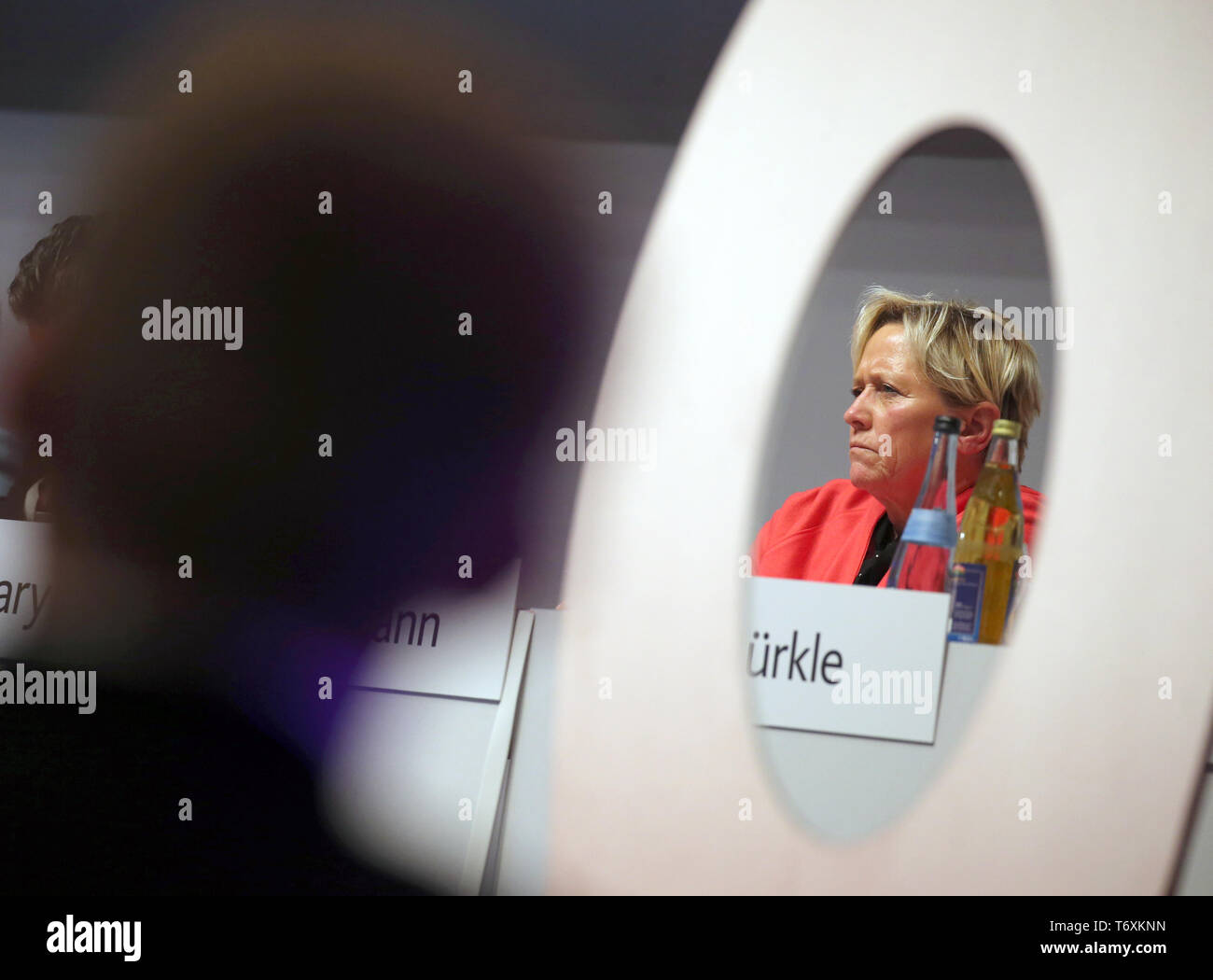 Weingarten, Germany. 03rd May, 2019. Susanne Eisenmann (CDU), Baden-Württemberg's Minister of Culture, sits on the podium at the CDU's state party conference in Baden-Württemberg. Credit: Karl-Josef Hildenbrand/dpa/Alamy Live News - Stock Image