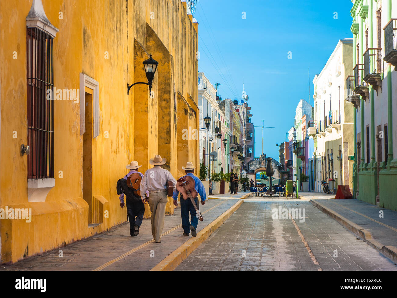 Mariachi on the streets of colonial Campeche city, Mexico Stock Photo