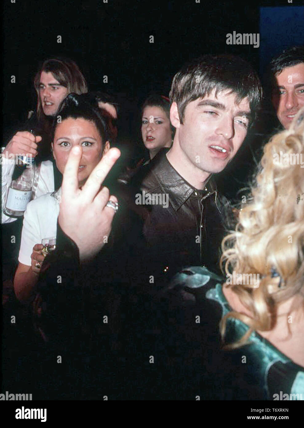 OASIS English rock group with Liam Gallagher about 1996 - Stock Image