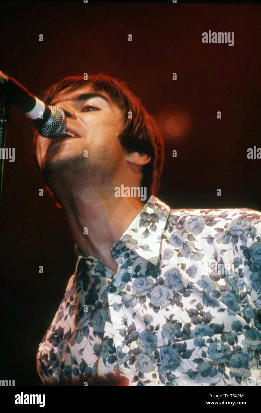 OASIS English rock group with Liam Gallagher in 1995 - Stock Image