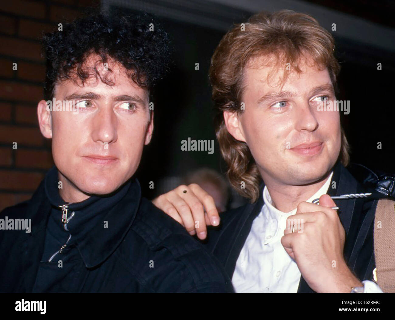 ORCHESTRAL MANOEUVRES IN THE DARK (OMD) English synth-pop do with Andy McCluskey at left and Paul Humphreys about 1979 - Stock Image
