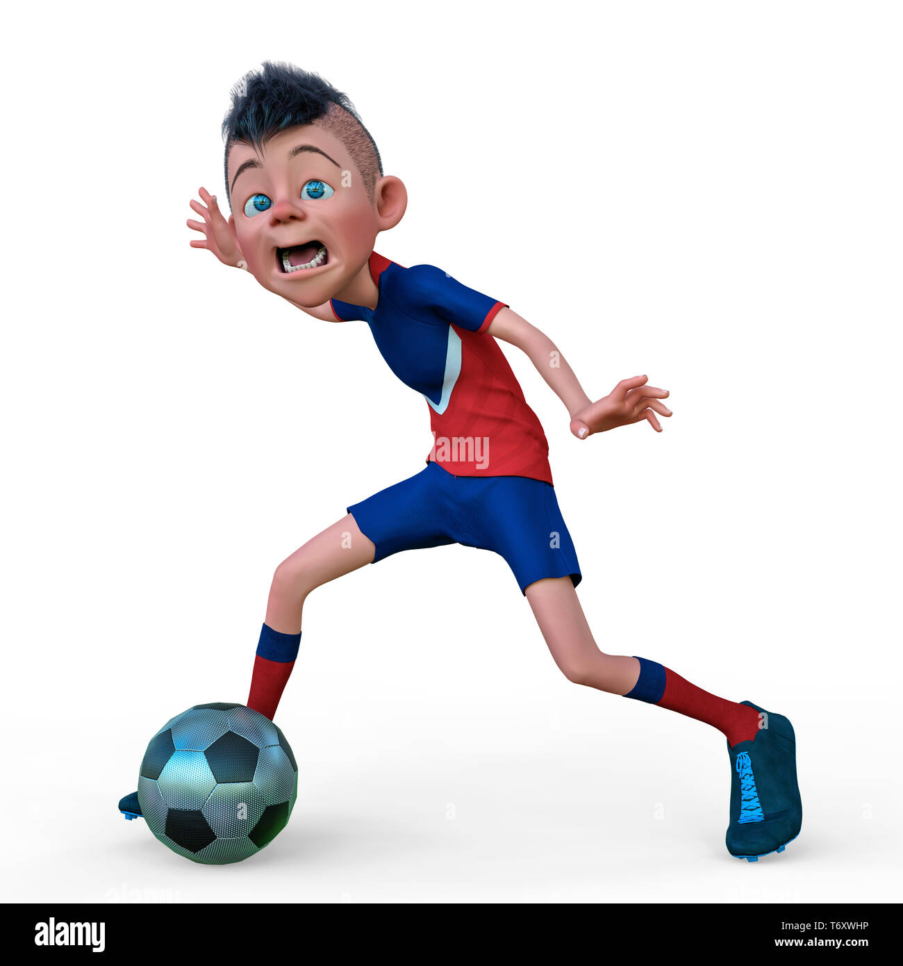 footballer cartoon in a white background to put some fun in yours creations - Stock Image