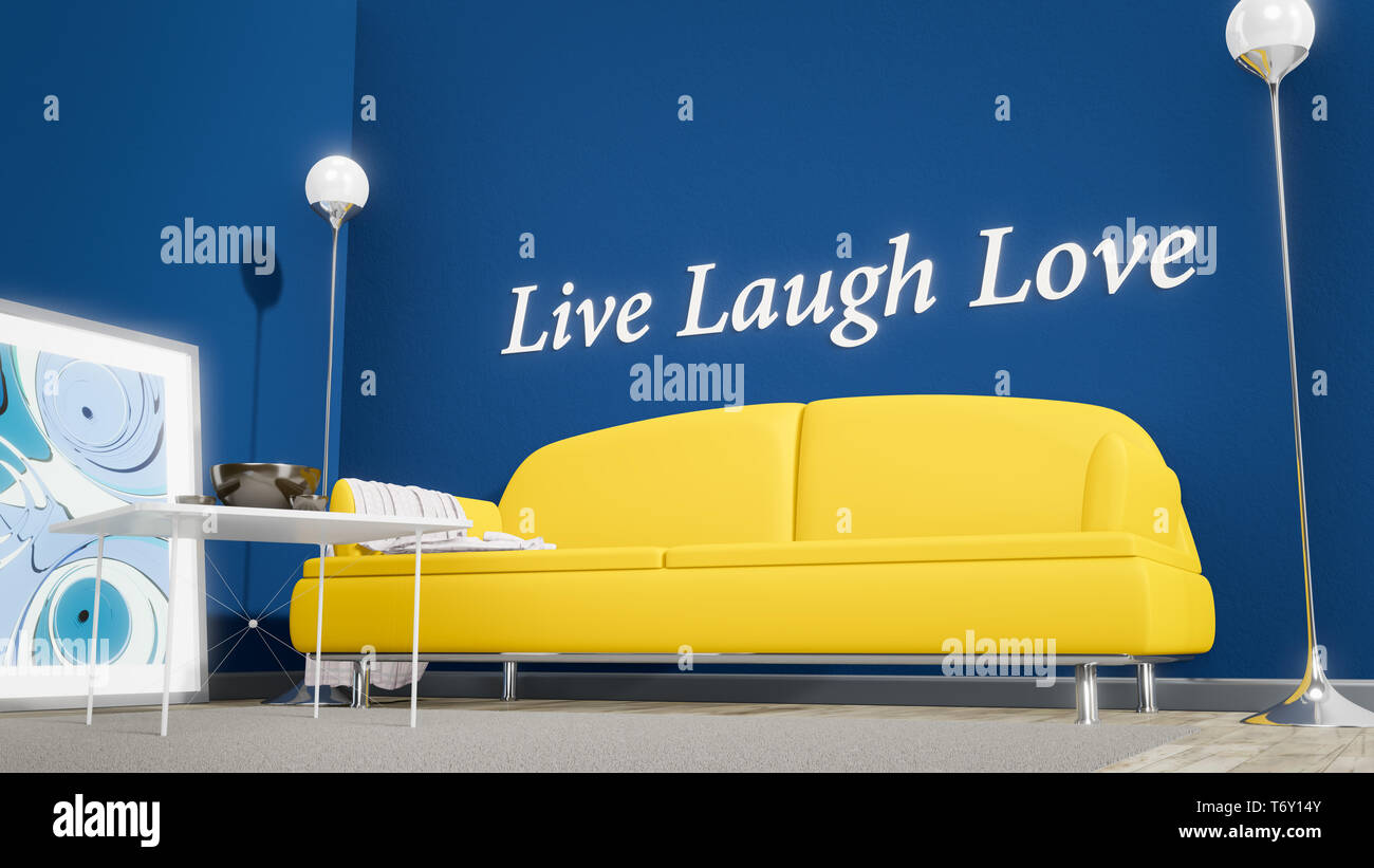 Orange Sofa In A Blue Room Live Laugh Love Stock Photo Alamy