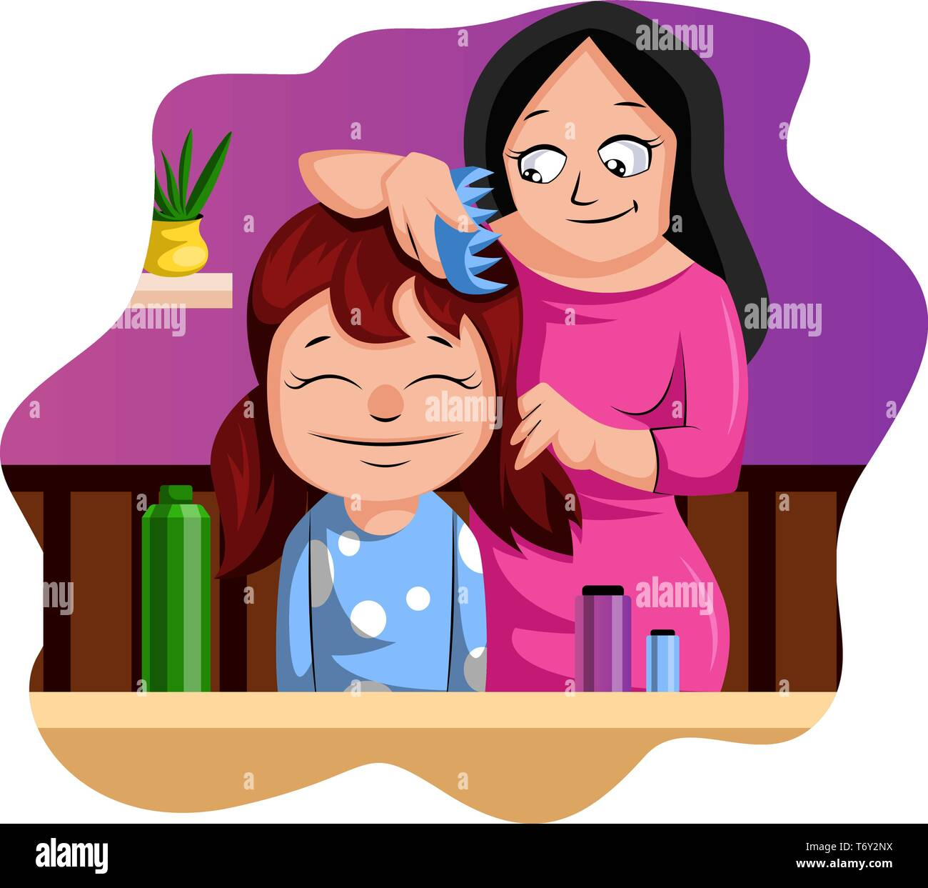 Brushing Hair Stock Vector Images Alamy