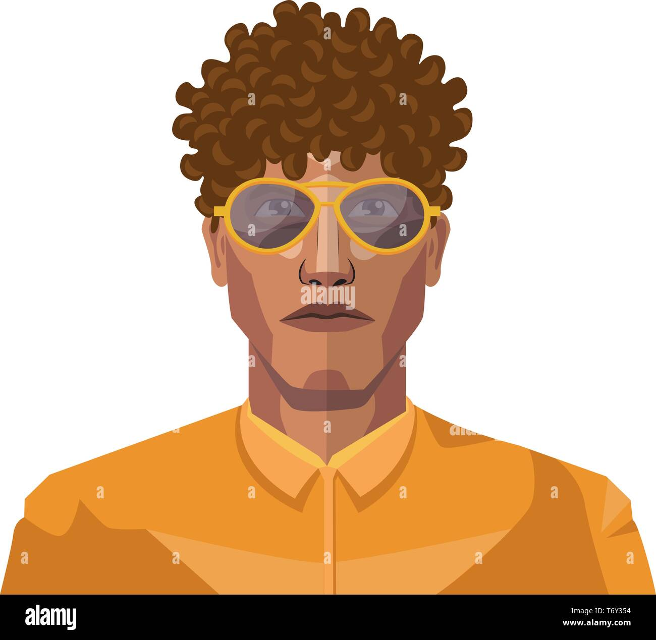 Handsome Guy With Short Curly Hair Illustration Vector On White