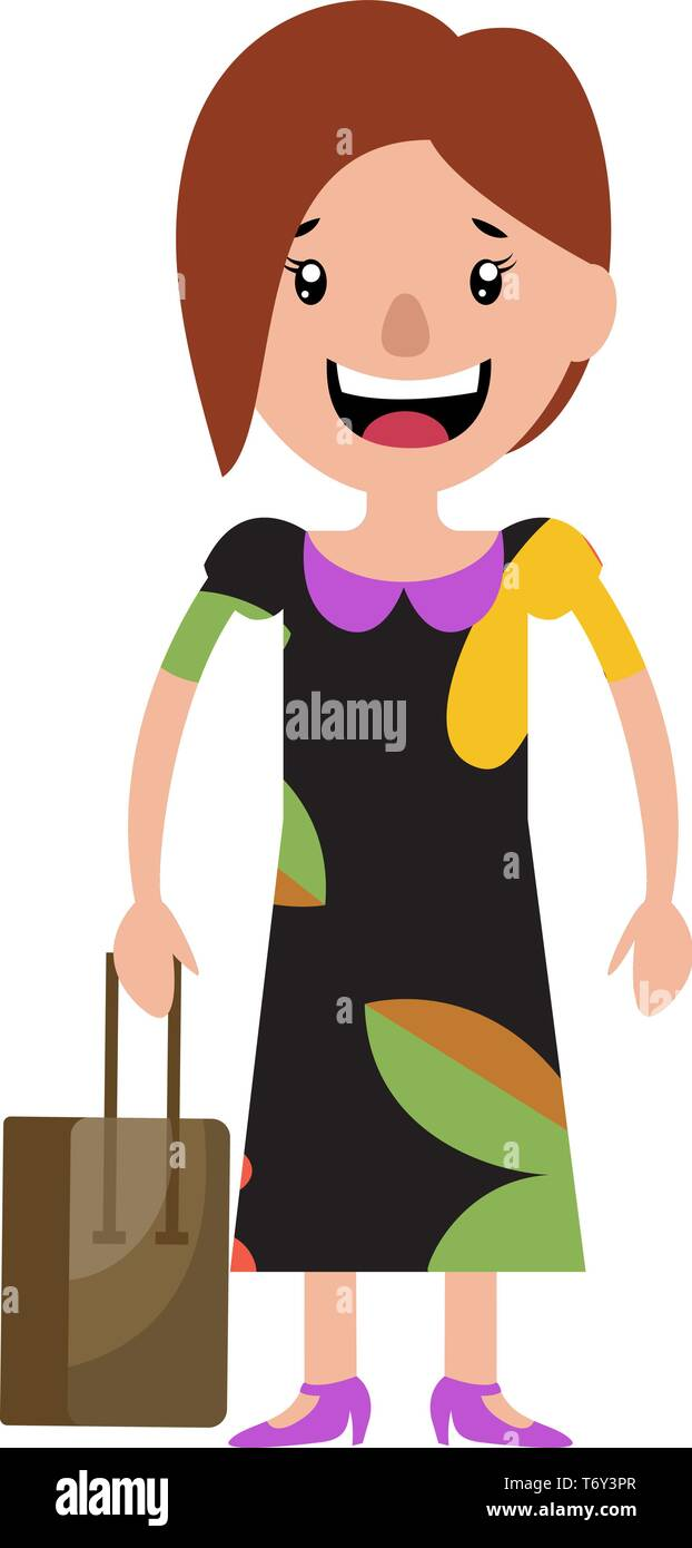 A young woman in a dress smiling and holding her bag illustration vector on white background - Stock Vector