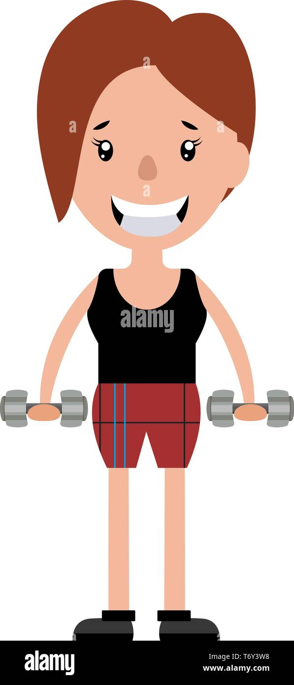 Young woman working out with a set of weights illustration vector on white background - Stock Vector