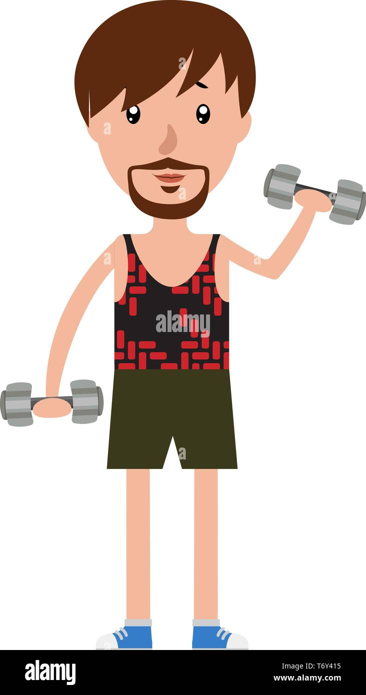 Cartoon man working out with the set of weights illustration vector on white background - Stock Vector