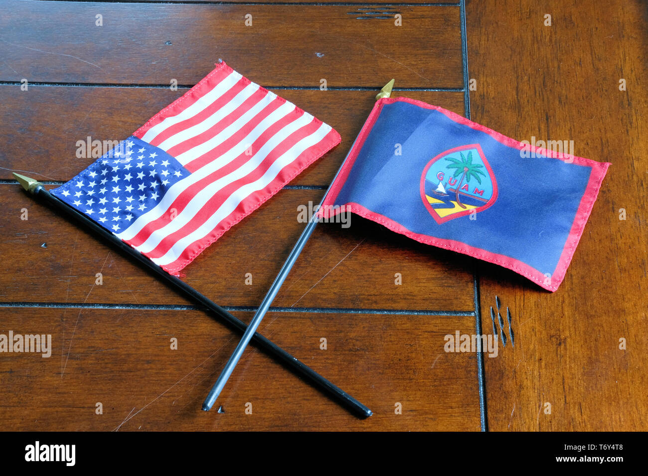 Flags of the United States and Guam; American-Guamanian relations. Stock Photo