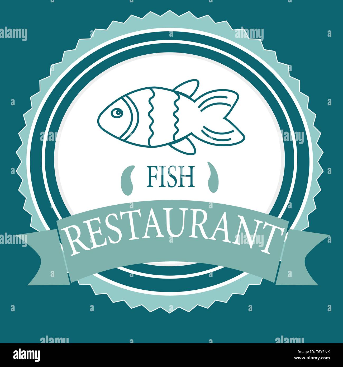 Vector Logo Banner For Advertising Restaurant Name Blue Turquoise Color With Fish And Text Inscription Stock Vector Image Art Alamy