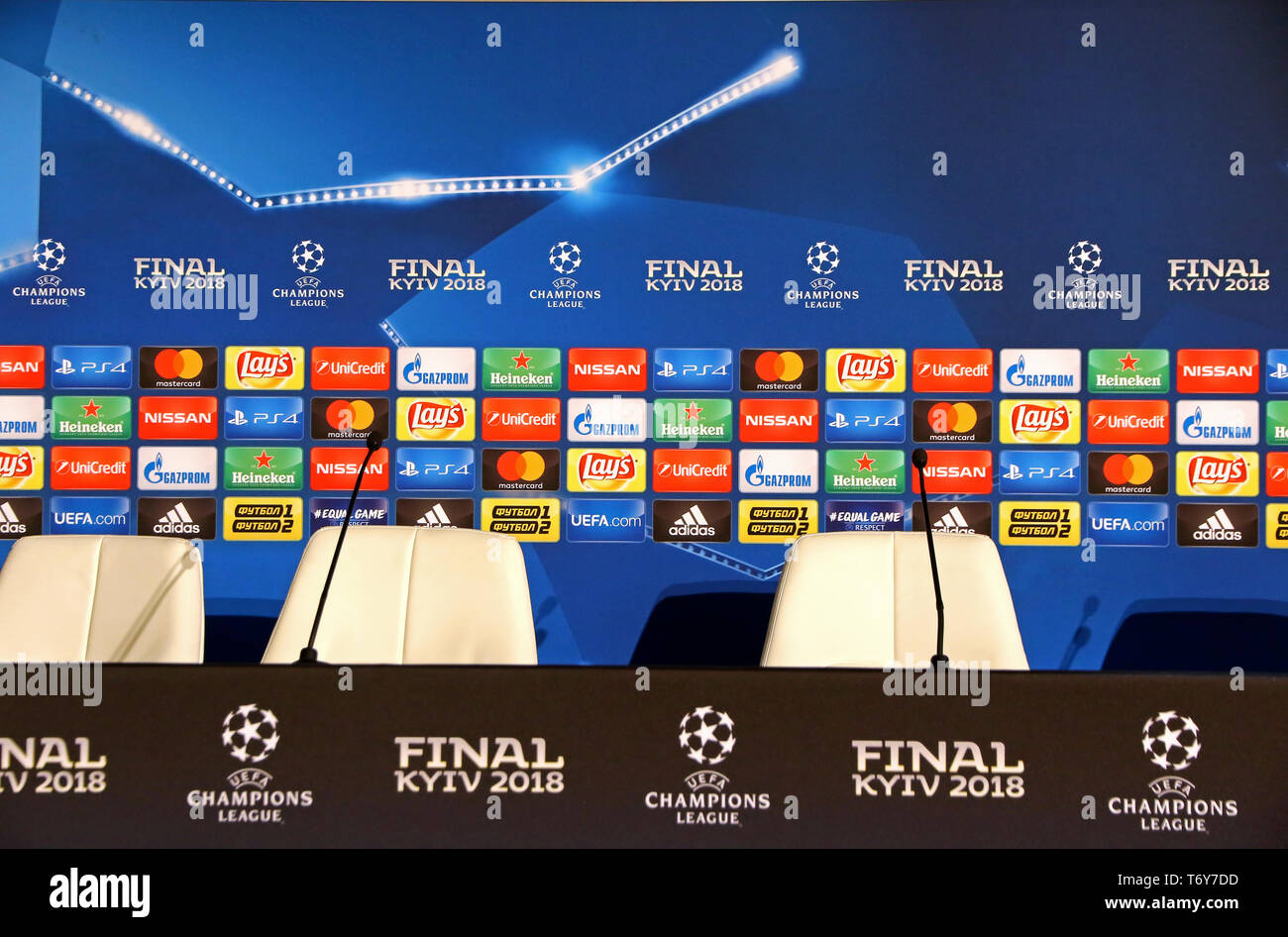 KYIV, UKRAINE - MAY 26, 2018: Press-conference room of NSC Olimpiyskiy Stadium in Kyiv after the UEFA Champions League Final 2018 game Real Madrid v L - Stock Image
