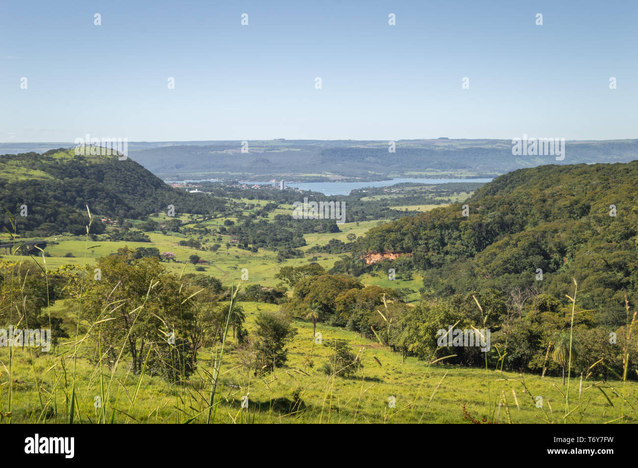 """High angle view of the """"Rio Grande"""" (Great River) that sets up the limit between SP`and MG states in Brazil Stock Photo"""