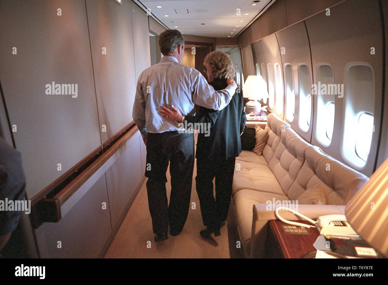 President George W. Bush with Harriet Miers, White House Counsel, aboard Air Force One, September 11, 2001. Image courtesy National Archives. () - Stock Image