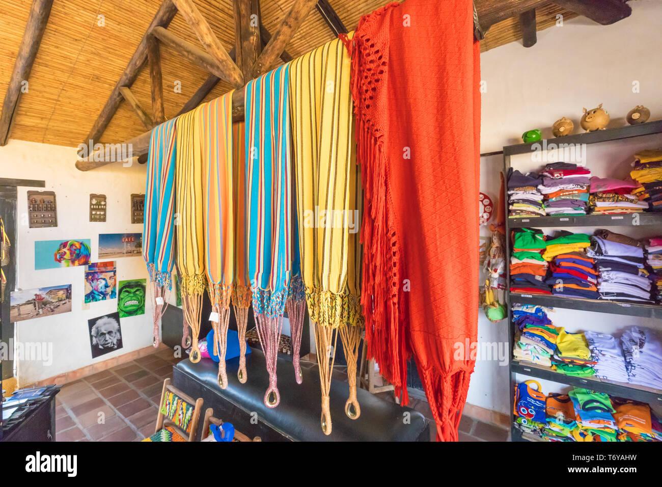 Colombian colored hammocks - Stock Image