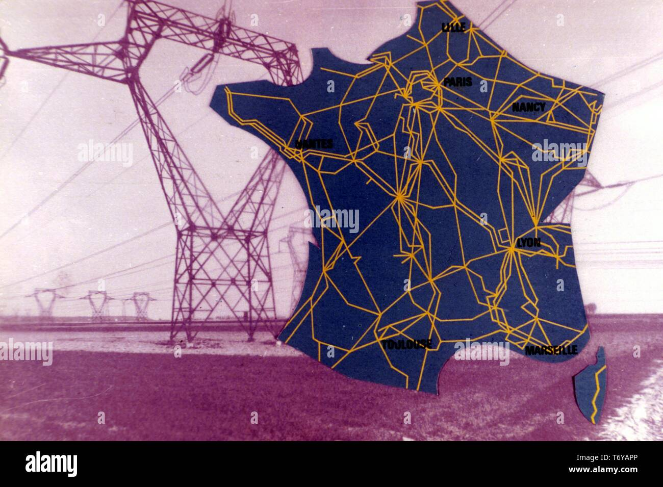 Map Of France Showing Lille.Map Of France Superimposed Over A Photograph Of An Electrical