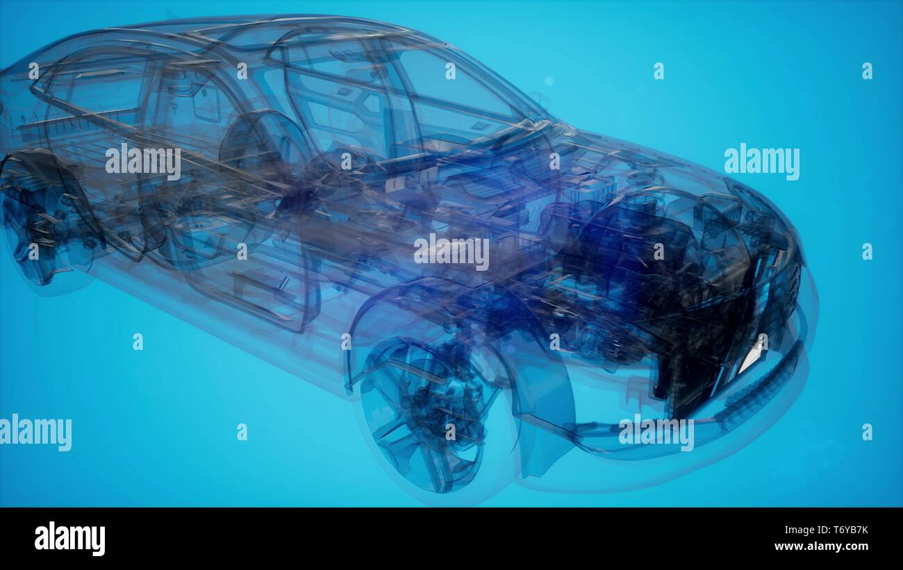 Holographic animation of 3D wireframe car model - Stock Image