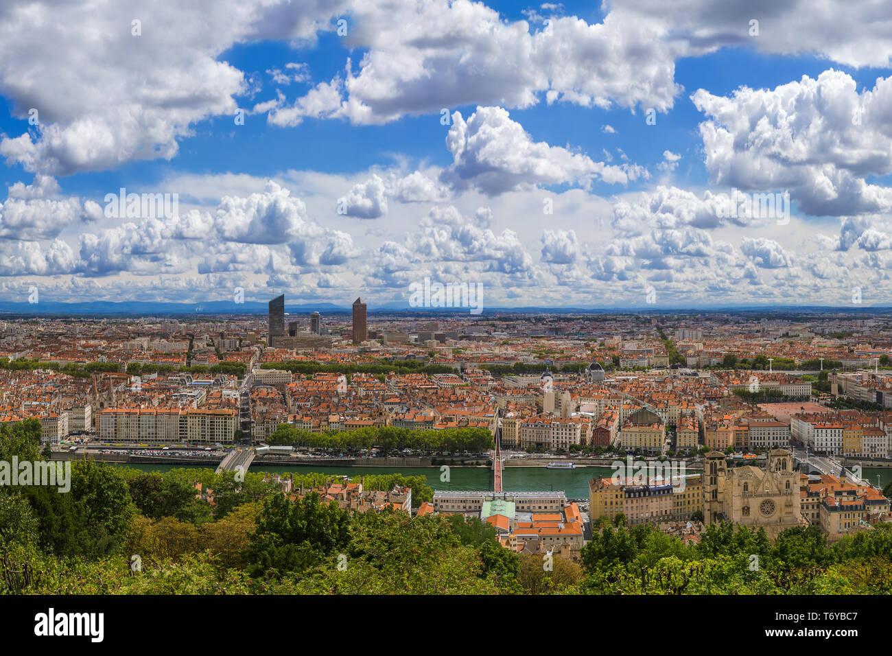 Panorama of Lyon - France - Stock Image