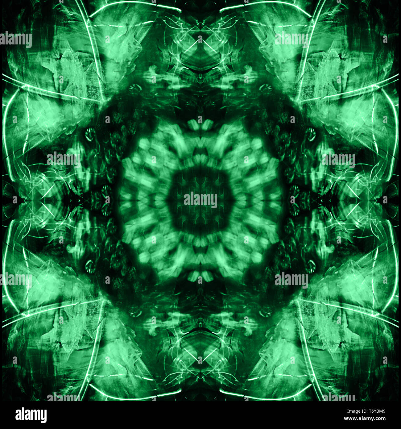 Kaleidoscopic psychedelic pattern. Abstract symmetric luminous b - Stock Image