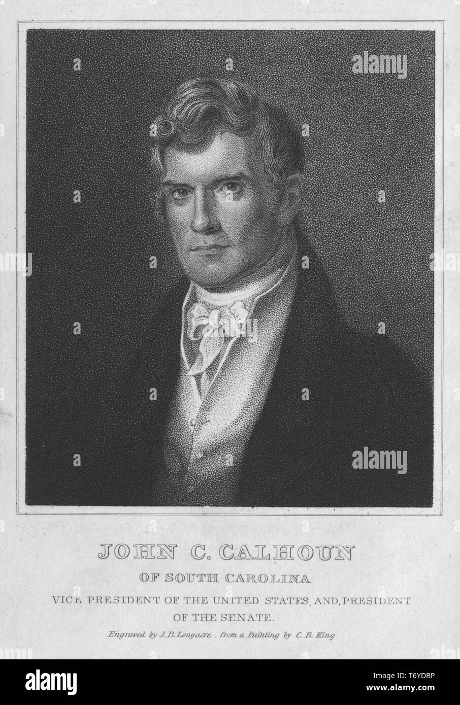Engraved portrait of John Caldwell Calhoun, Vice President of the United States, and President of the Senate, an American statesman and political theorist from South Carolina, 1843. From the New York Public Library. () - Stock Image