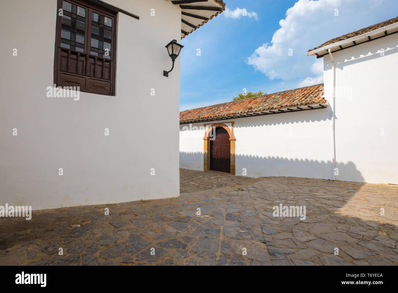 typical colonial buildings in Villa de Leyva Stock Photo