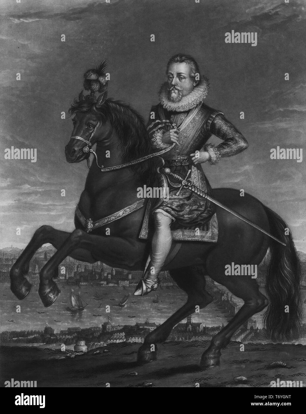 Engraved portrait of James the First, James Charles Stuart, King of England, Scotland, and Ireland, 1900. From the New York Public Library. () - Stock Image