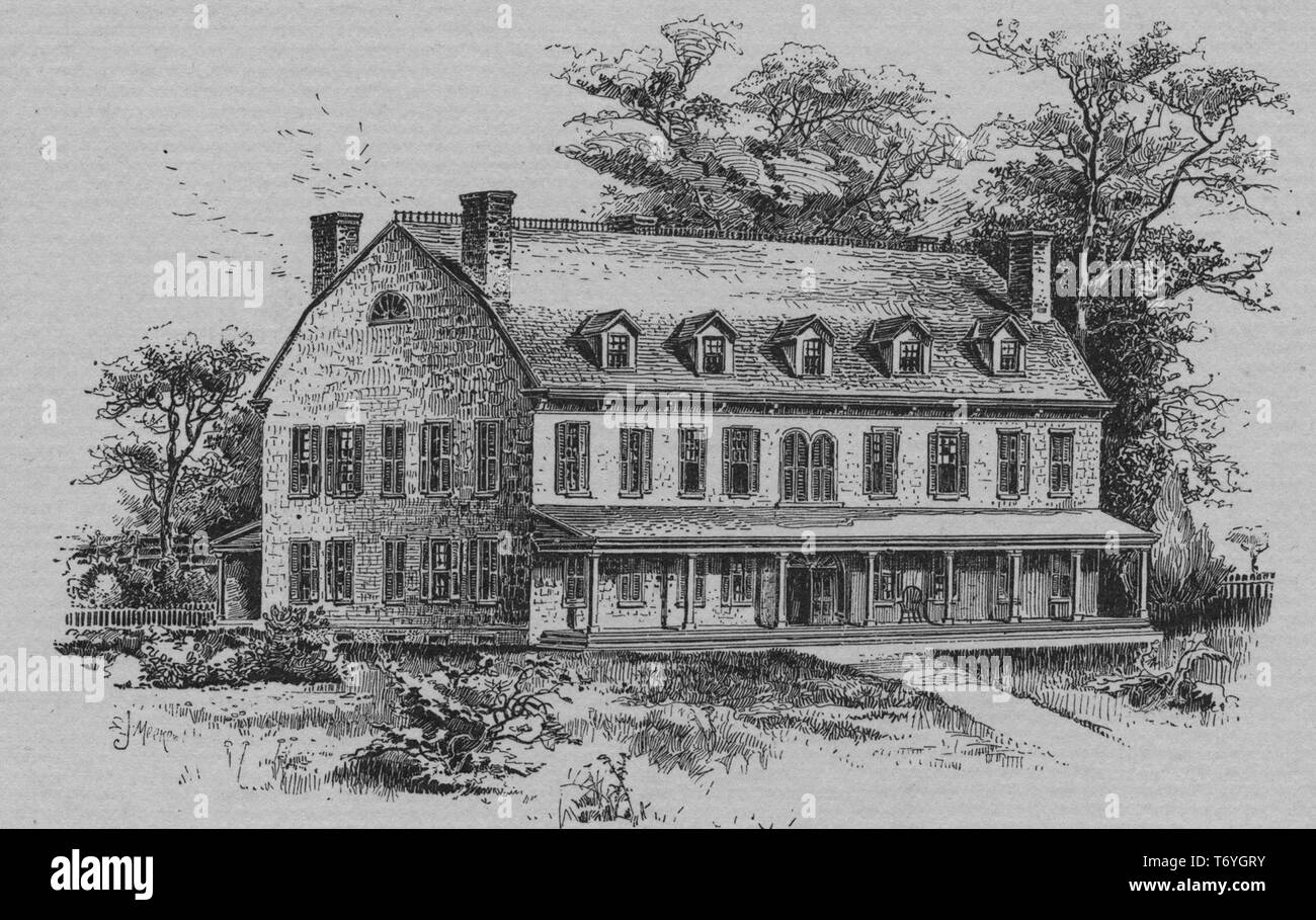 Engraving of the residence of Philip Livingston, an American merchant, statesman and delegate to the Albany Congress, Brooklyn, New York, 1880. From the New York Public Library. () Stock Photo