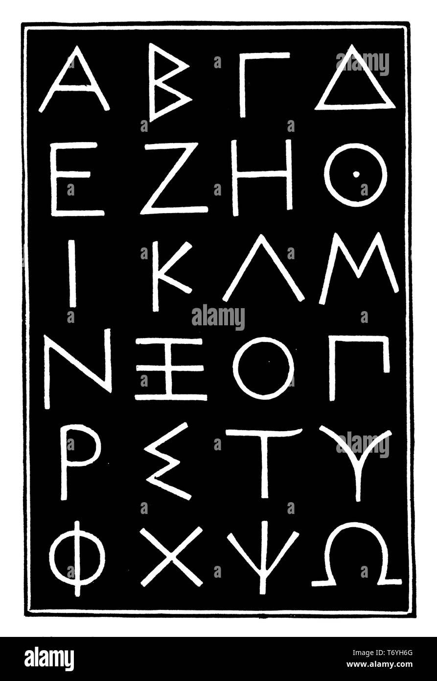 Greek alphabet from a stele in Athens, 394 BC.,   1926 - Stock Image