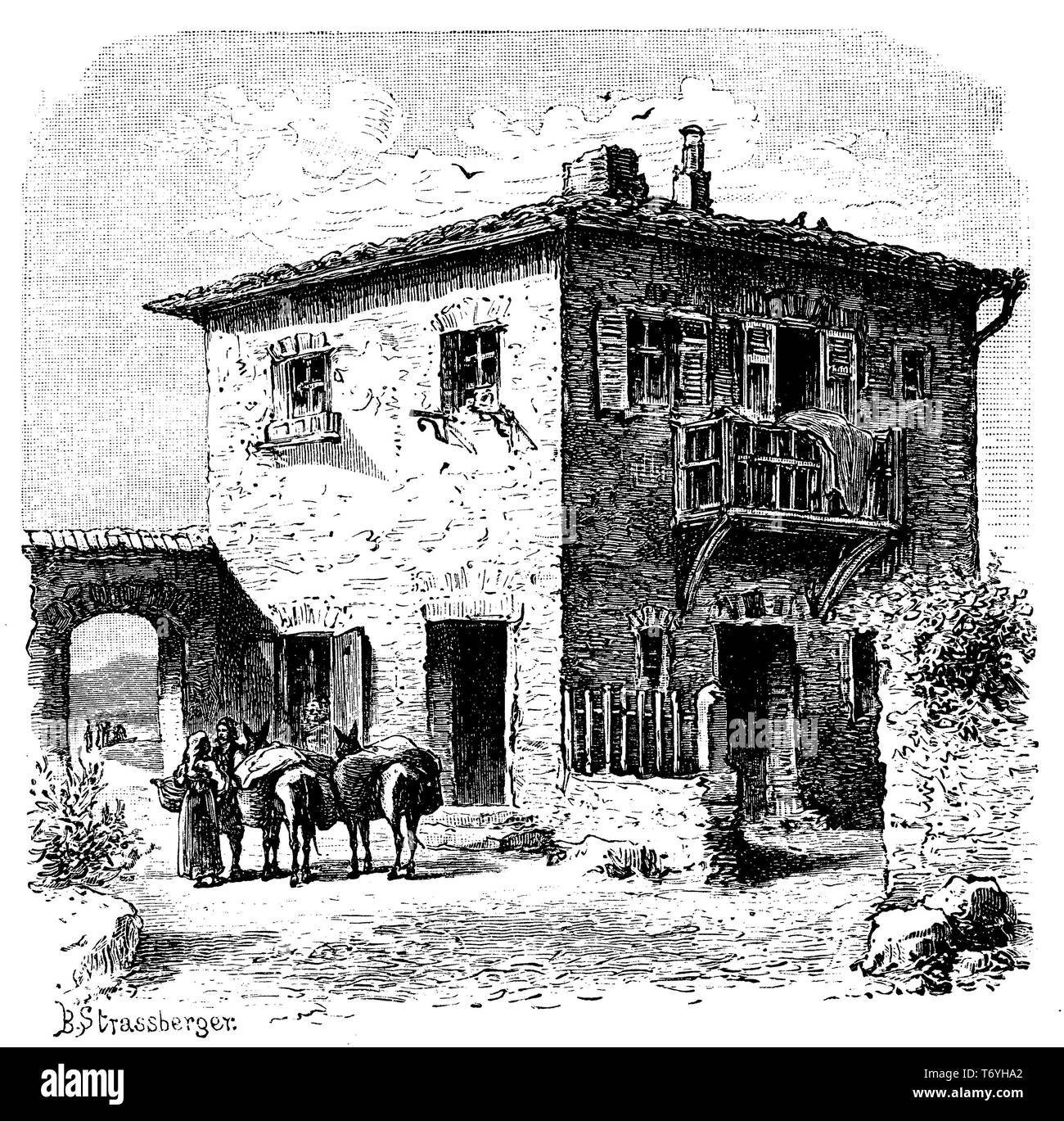 Country house in the Peloponnese, B S Strassberger  1904 - Stock Image