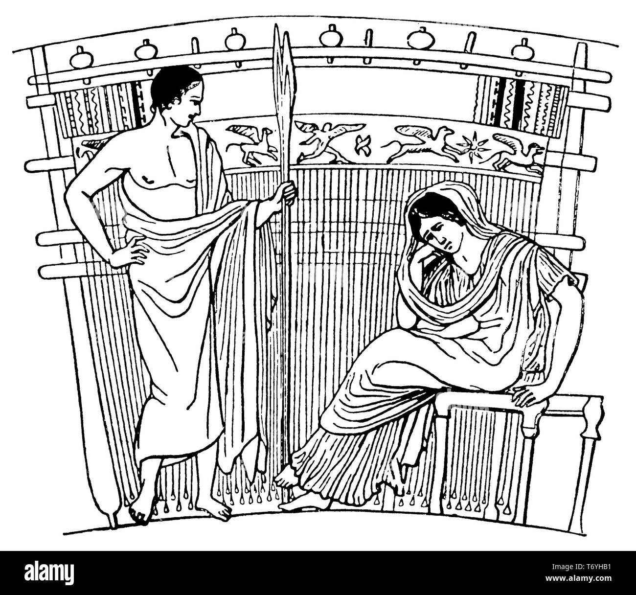 Ancient Greek loom,   1915 - Stock Image