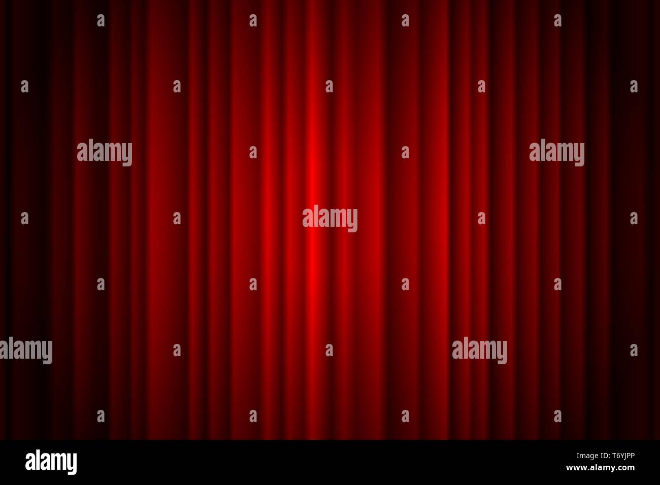 Closed red curtain stage background spotlight beam illuminated. Theatrical drapes. Vector illustration EPS 10 - Stock Vector