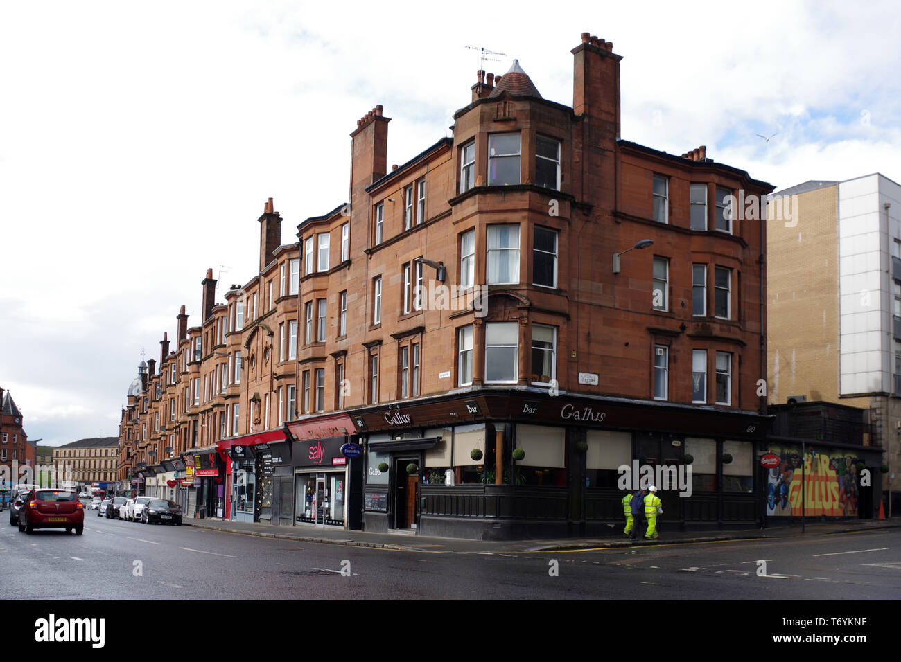 tenement flats in Partick on Dumbarton Road, Glasgow - Stock Image