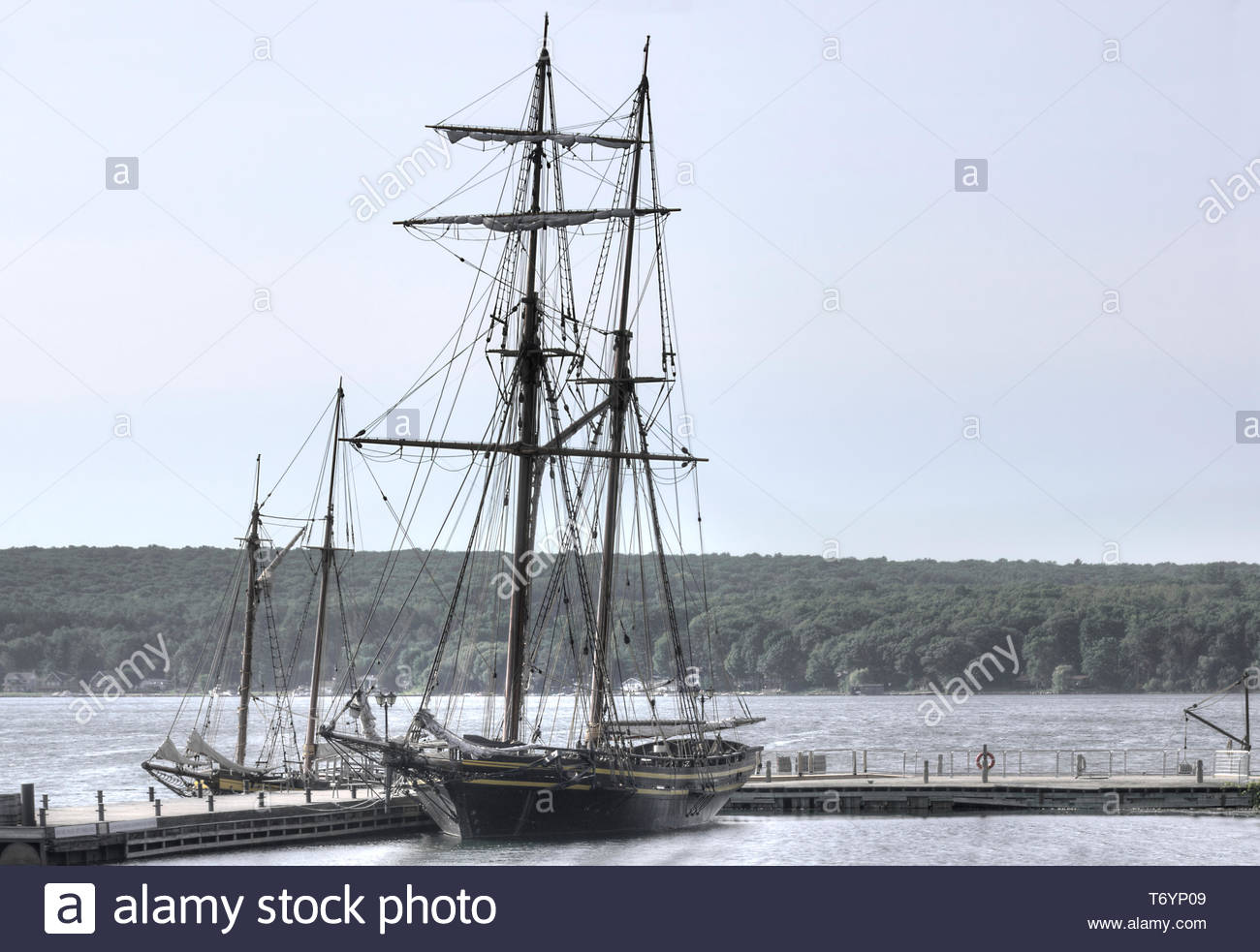 tall ship in harbour Discovery bay Penetanguishene Ontario Canada - Stock Image