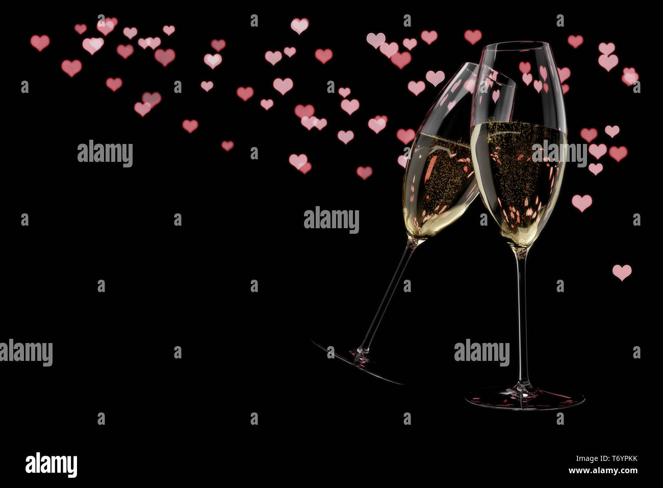 champagne glasses Valentine's Day clink glasses - Stock Image
